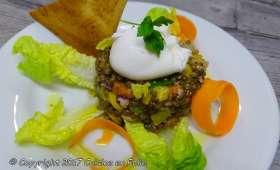 Lentilles en salade, oeuf poché, vinaigrette au Xérès