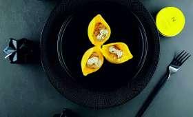 Conchiglioni, mousseline de potimarron et Saint-Jacques au beurre de truffe