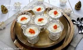 Panna cotta aux asperges et oeufs de saumon