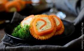 Bouchée apéritive de saumon roulé au Boursin