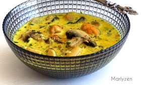Fondue de moules au curry et au miel