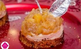 Tatins de foie gras aux pommes avec pain d'épices