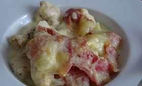Éminces de poulet à la cancoillotte et pancetta, gratinés