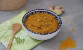 Soupe butternut-patate douce au citron, gingembre et curry
