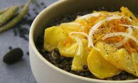 Salade de lentilles tiède et rutabaga confit au gingembre