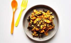 Sauce aux carottes, à l'orange, à la feta et aux champignons noirs