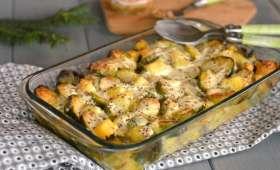 Gratin de choux de Bruxelles et pommes de terre à la moutarde