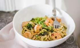 Linguines aux brocolis et crevettes épicées