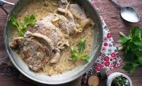 Roti de porc sauce moutarde et vin
