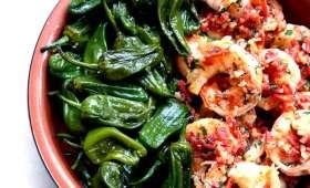 Crevettes au chorizo et pimientos del padrón