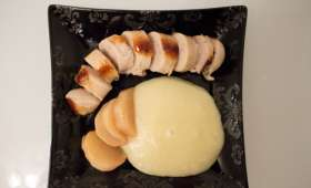 Boudin blanc, navets caramélisés et purée