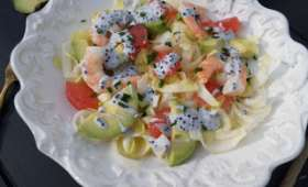 Salade d'endive avocat pamplemousse et crevettes