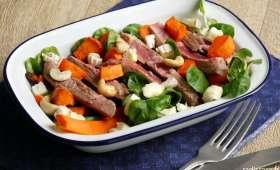 Salade de gigot d'agneau au picodon et légumes rôtis
