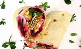 Wraps falafels, avocat, betterave & pourpier