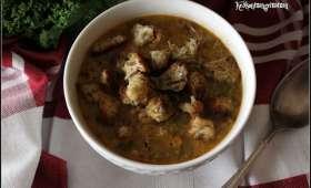 """Soupe au """"riz"""" de chou fleur au curry et kale"""