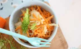 Salade de fenouil et carottes, vinaigrette à l'orange