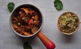 Tajine aux légumes grillés et couscous aux herbes et aux amandes