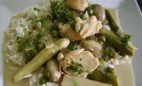 Casserole de poulet, champignons et asperges