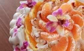 La pavlova au litchi, à la clémentine et à l'orange