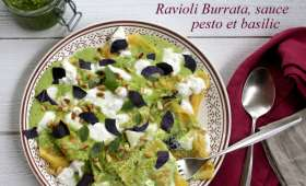 Ravioli burrata tomates séchées et basilic, sauce au pesto