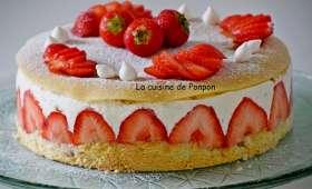 Fraisier au sirop de fraise-basilic et liqueur de basilic sans beurre