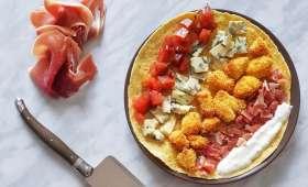 Fajitas de poulet croustillant à la fourme d'Ambert et jambon cru