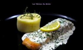 Pavé de saumon à la crème de ciboulette