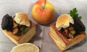 Feuilletés de boudin noir aux oignons et pommes caramélisées et sa touche de gingembre confit