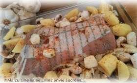 Rôti de porc ail et champignons