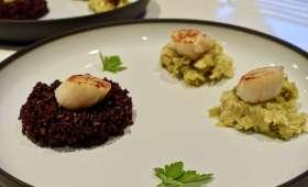 Saint-Jacques, poireau et riz venere