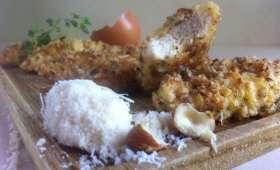 Blancs de poulet à la panure de noisettes parmesan