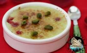 Crème brûlée pistache framboises