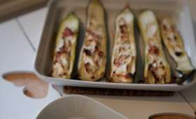Courgettes farcies à la ricotta et bacon (weight watchers)