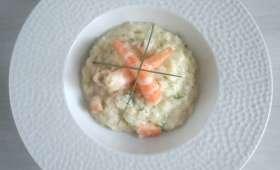 Risotto aux courgettes et crevettes citron et gingembre