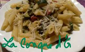 Penne rigate aux courgettes et pancetta