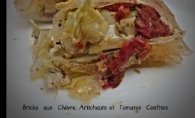 Bricks au chèvre, artichauts et tomates séchées