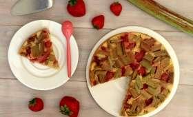 Gâteau renversé fraise et rhubarbe