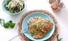 Galettes aux cocos plats, feta, menthe et aneth