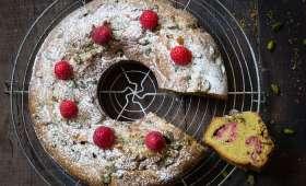 Gesundheitskuchen (gâteau de santé) framboises et pistaches