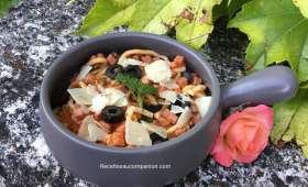 Spätzle à la tomate jambon olive et parmesan