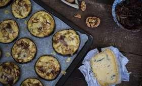 Aubergines façon pizza au bleu d'Alsace, oignons confits et noix