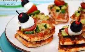 Pizza tapas à la bolognaise et courgettes grillées
