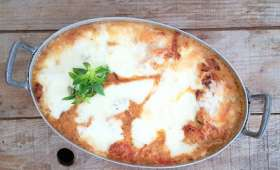 Poulet gratiné aux tomates cerise, parmesan et mozzarella