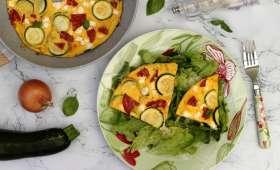 Frittata à la courgette, feta et chorizo