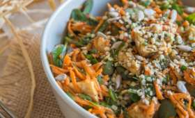 Salade de pourpier, carotte et tempeh à l'asiatique