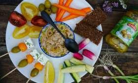 Plateau de crudités et rillette de thon aux olives vertes Bio
