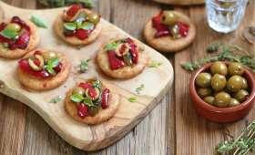 Mini pizzas aux poivrons et olives Bio