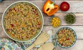 Taboulé de boulgour au thon, maïs, petit-pois, poivron et tomate
