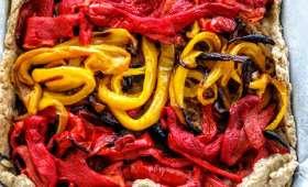 Tarte rustique et vegan aux poivrons