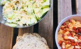 Houmous au chorizo et salade de courgettes citronnées